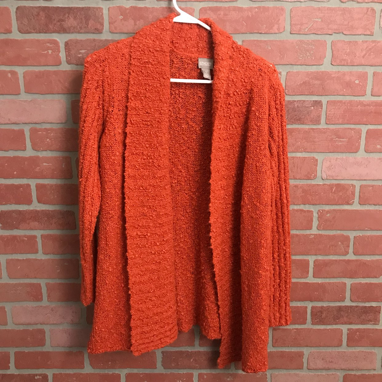 Chico's Orange Open Front Sweater Soft 1 - Mercari: BUY & SELL ...