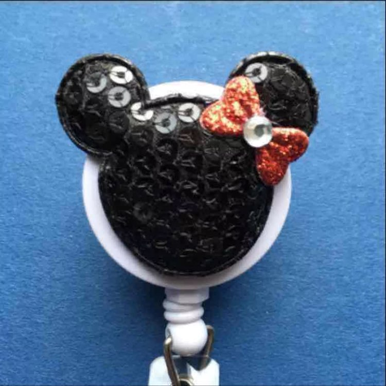 Sequin Minnie Mouse ID Badge Nurse RN MD