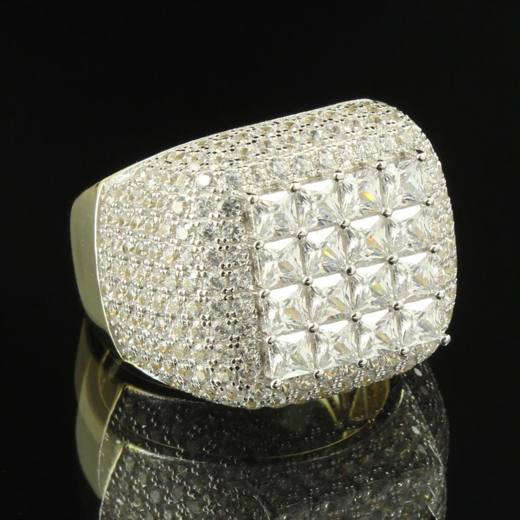 Princess Cut Solitaire Icedout Mens Ring