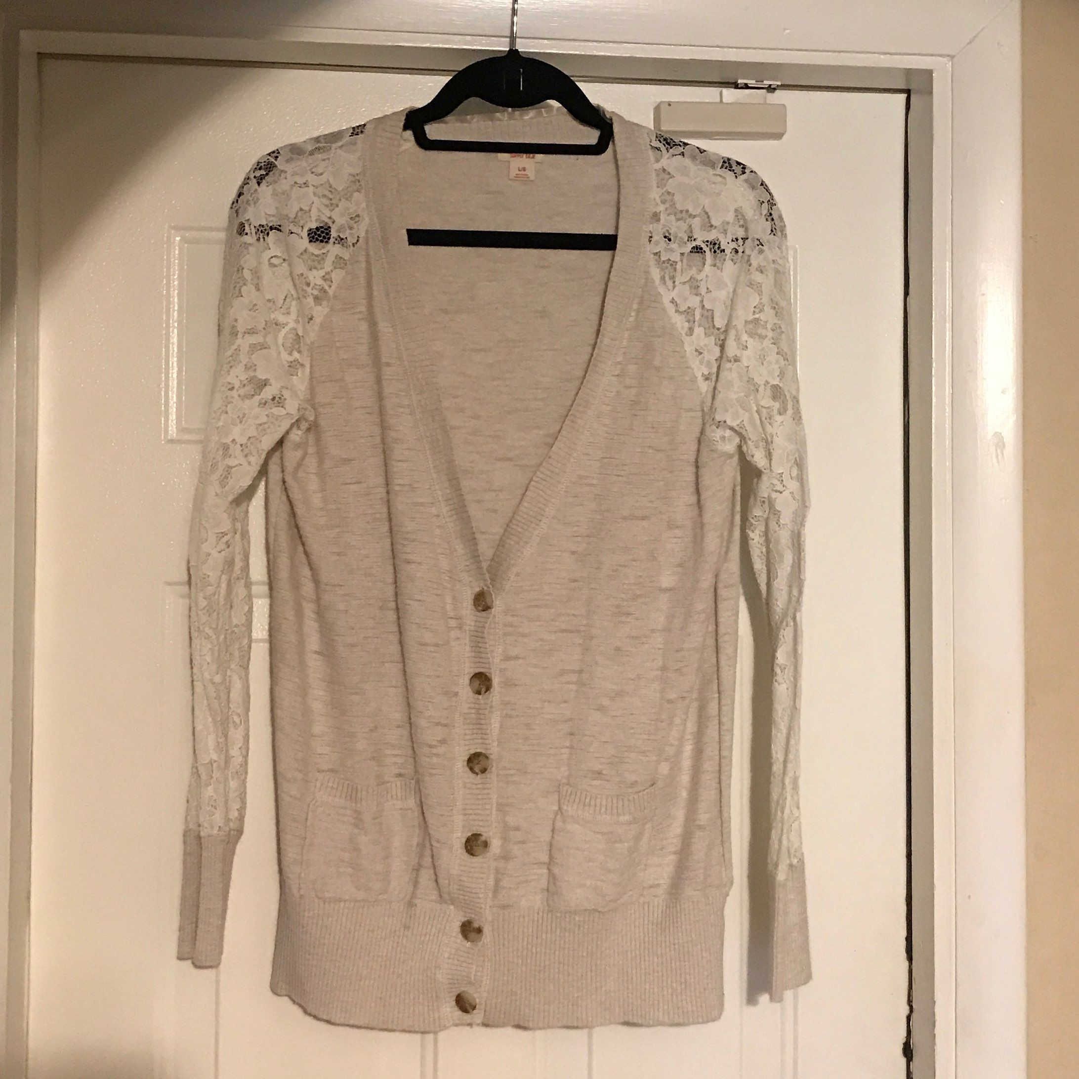 Mossimo Tan/Beige Lace Cardigan Size L - Mercari: BUY & SELL ...