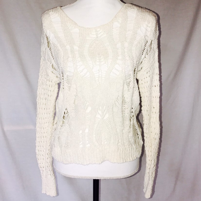 AE Off White Loose Knit Cotton Sweater - Mercari: BUY & SELL ...