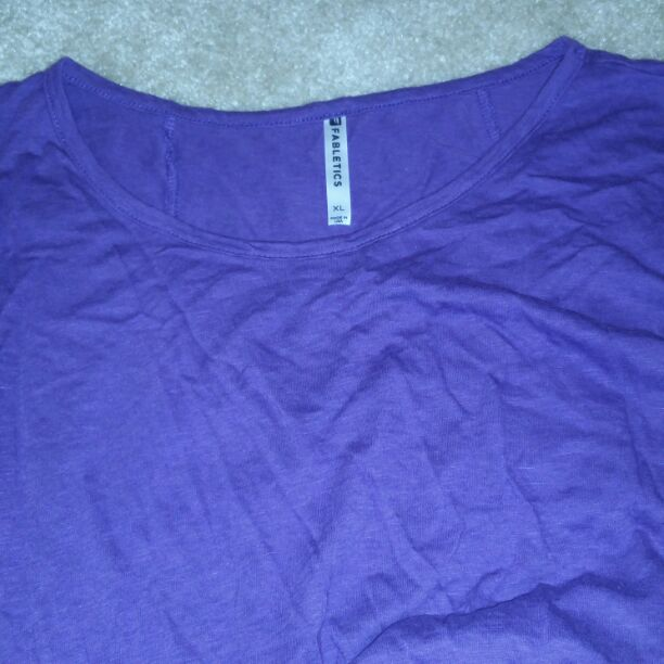 Purple Fabletics workout exercise top