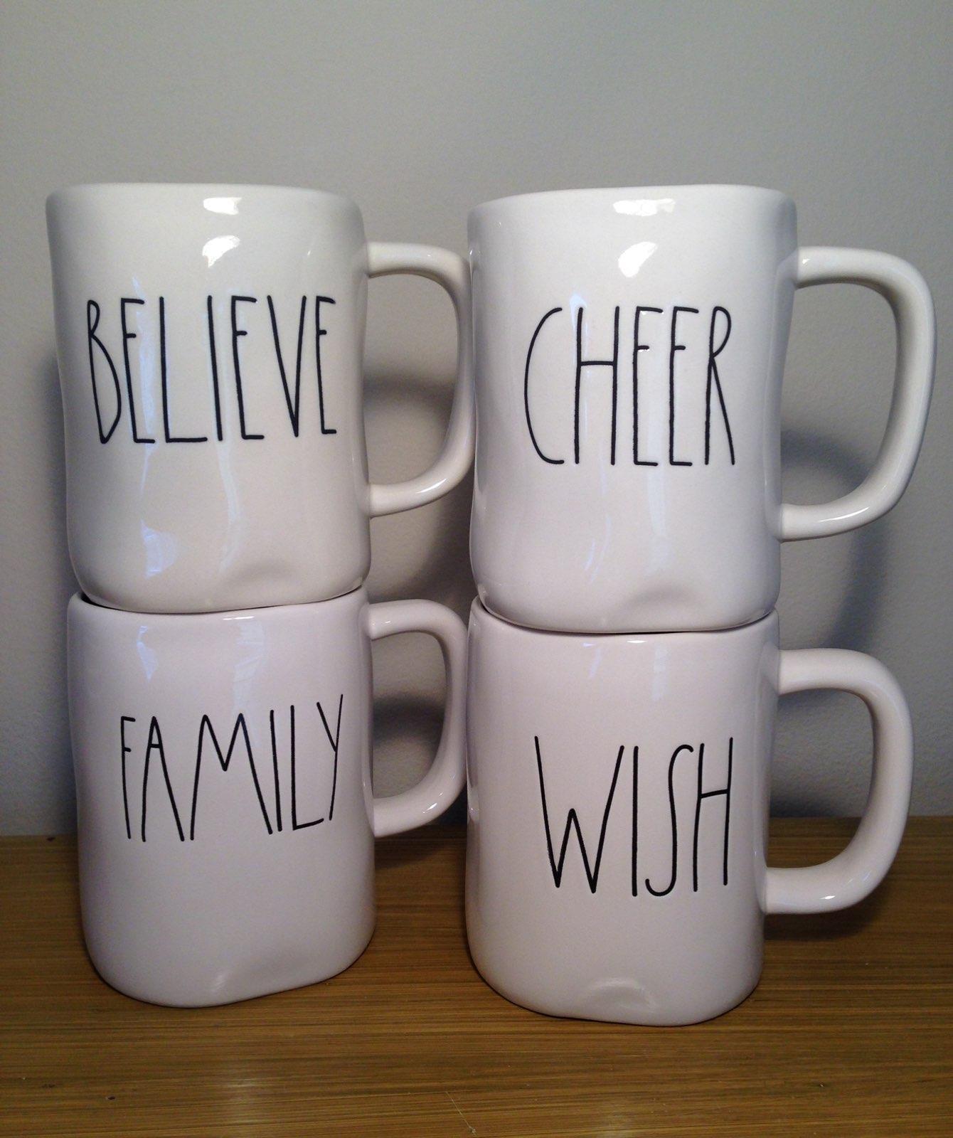 Rae Dunn Wish Cheer Believe Family Mugs