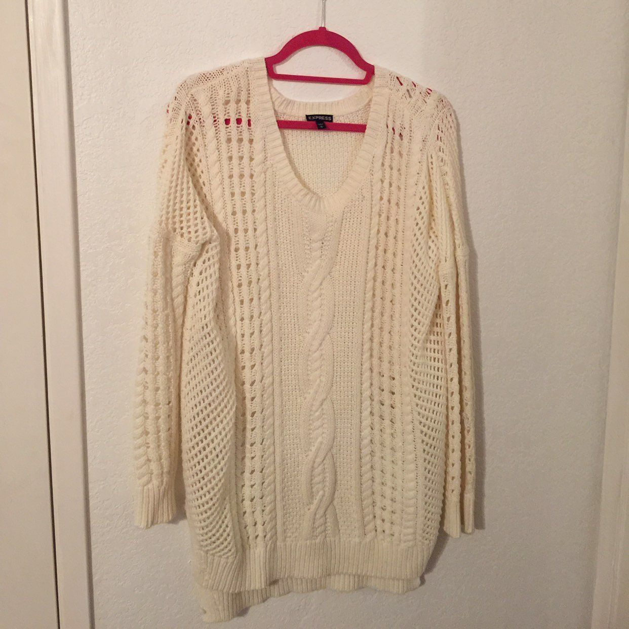 Express Cream Color Knit Sweater - Mercari: BUY & SELL THINGS YOU LOVE