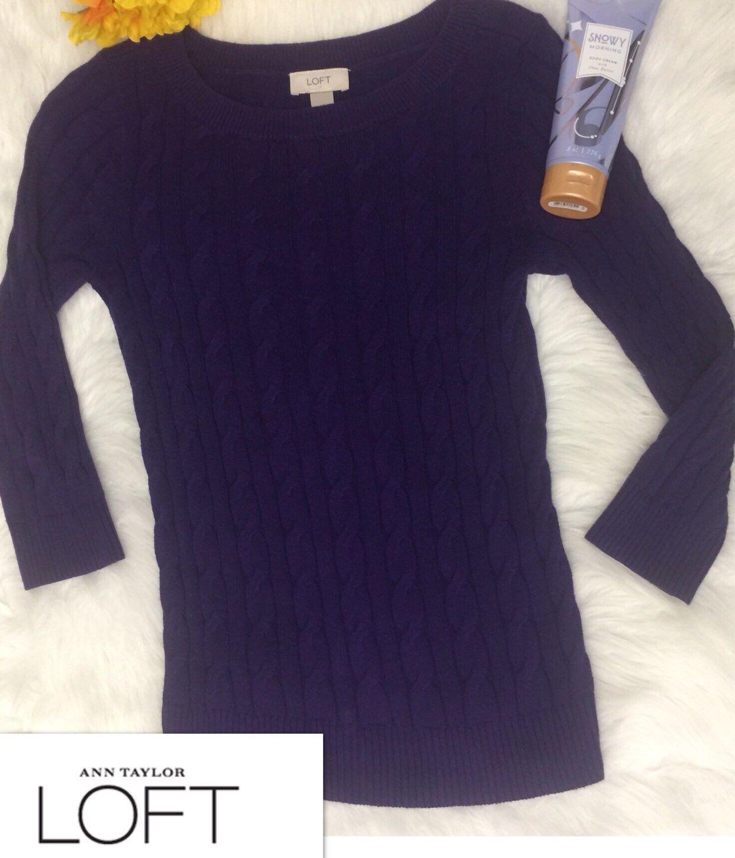 LOFT Deep Purple Cable knit Sweater XS - Mercari: BUY & SELL ...