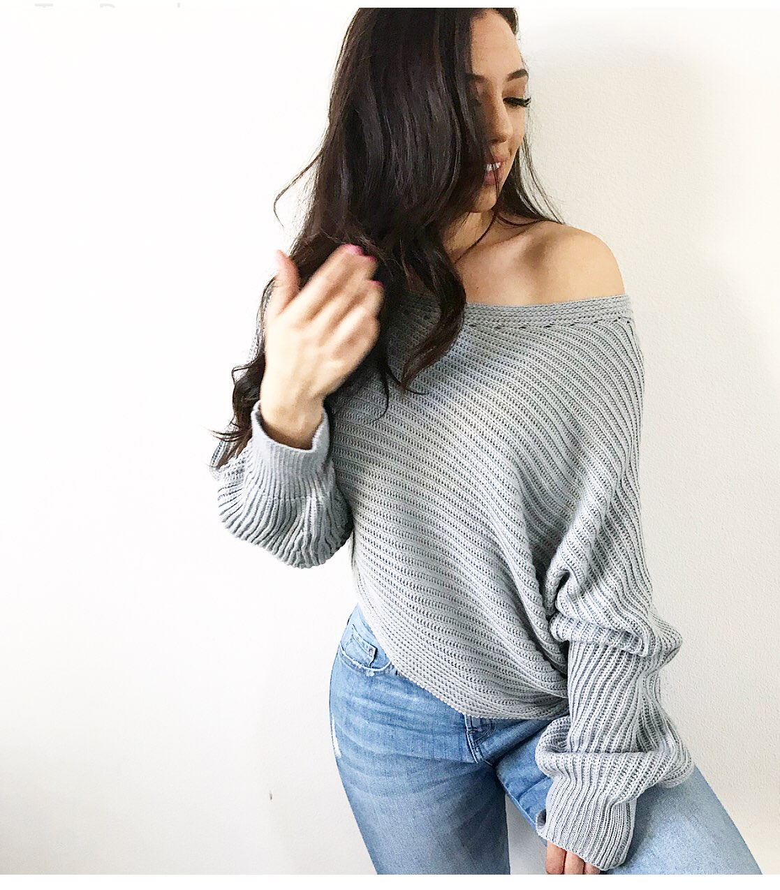 Grey Off The Shoulder Knit Sweater - Mercari: BUY & SELL THINGS ...