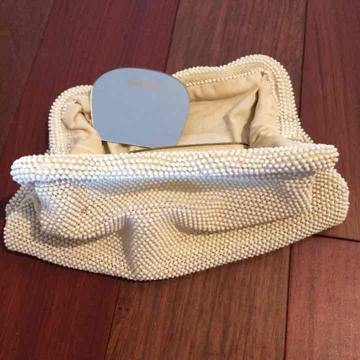 Vintage beaded clutch with mirror