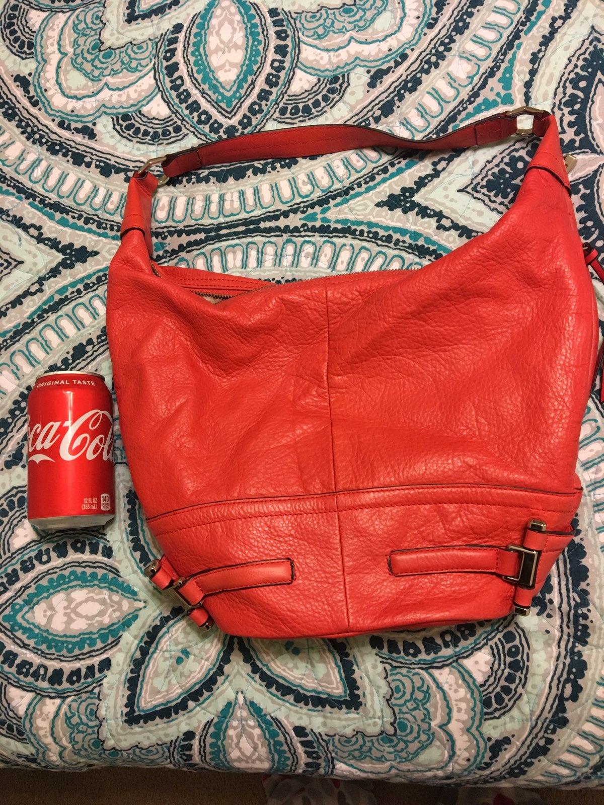 b. makowsky Red Leather Hobo