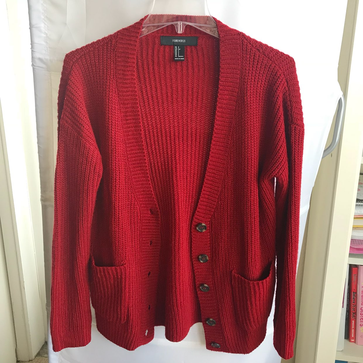 Red Chunky Cardigan - Mercari: BUY & SELL THINGS YOU LOVE