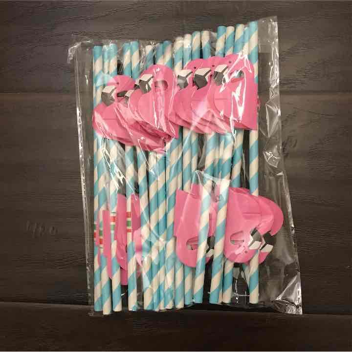 Reserved blue set flamingo straws
