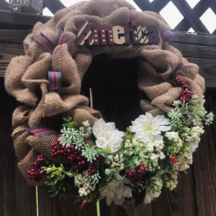 American Patriotic Door Wreath July 4th