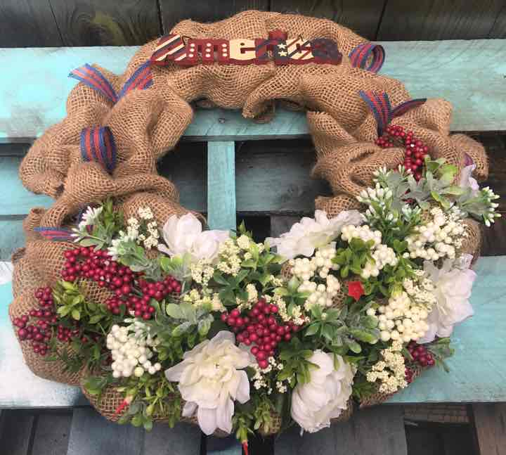 American Patriotic Door Wreath July 4th