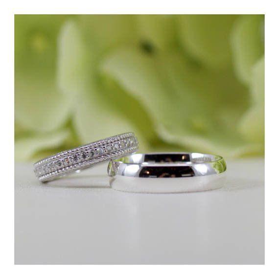 Bride Groom Wedding Band Ring Set