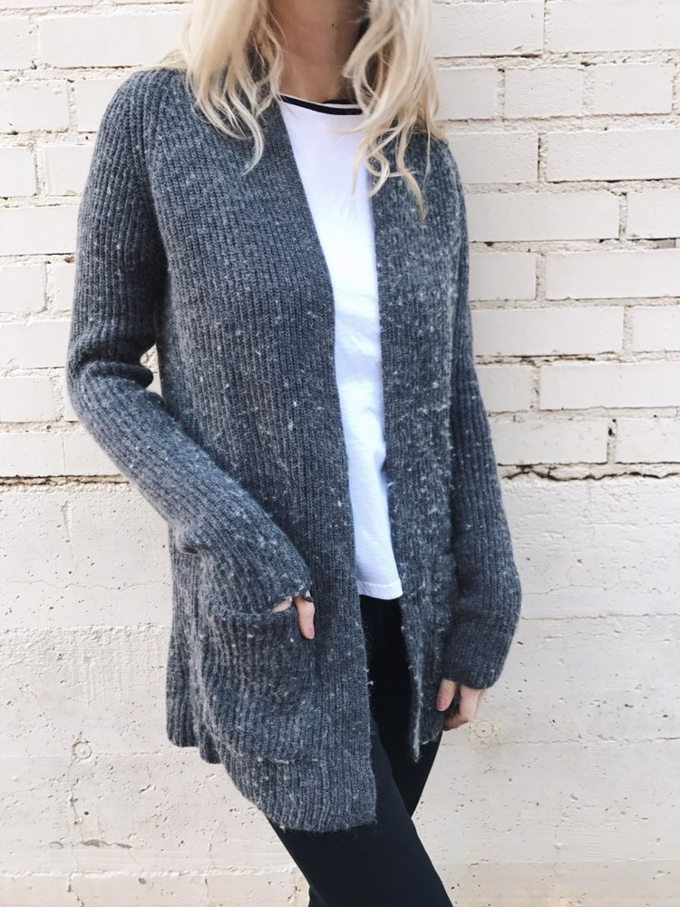 Ellen Tracy Fuzzy Grey Speckled Cardigan - Mercari: BUY & SELL ...