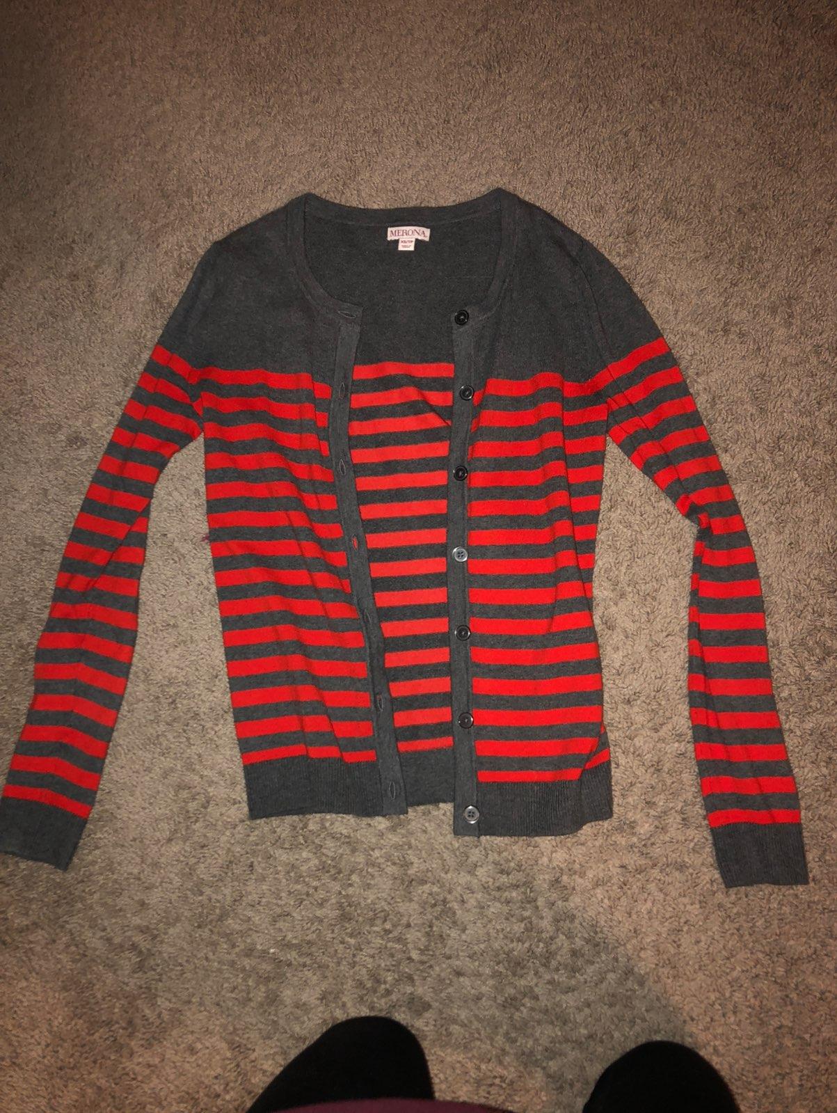 Gray/ orange striped cardigan - Mercari: BUY & SELL THINGS YOU LOVE