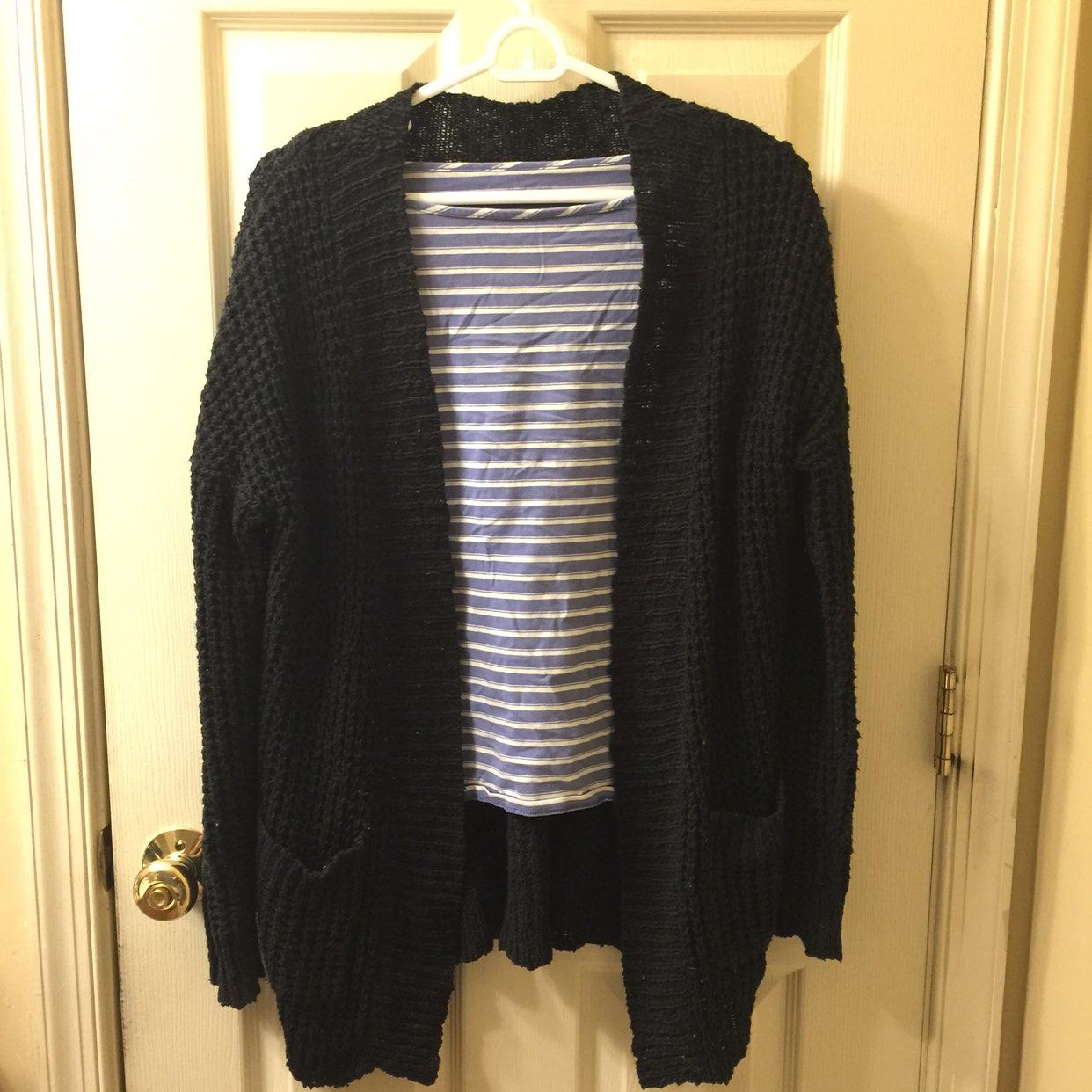 Thick Knit Black Cardigan - Mercari: BUY & SELL THINGS YOU LOVE