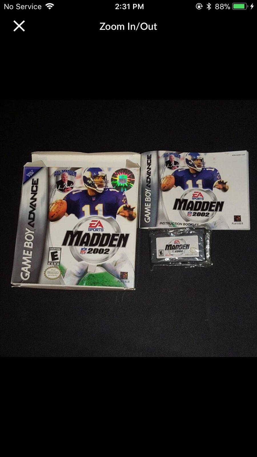 Gameboy Advance Madden 2002