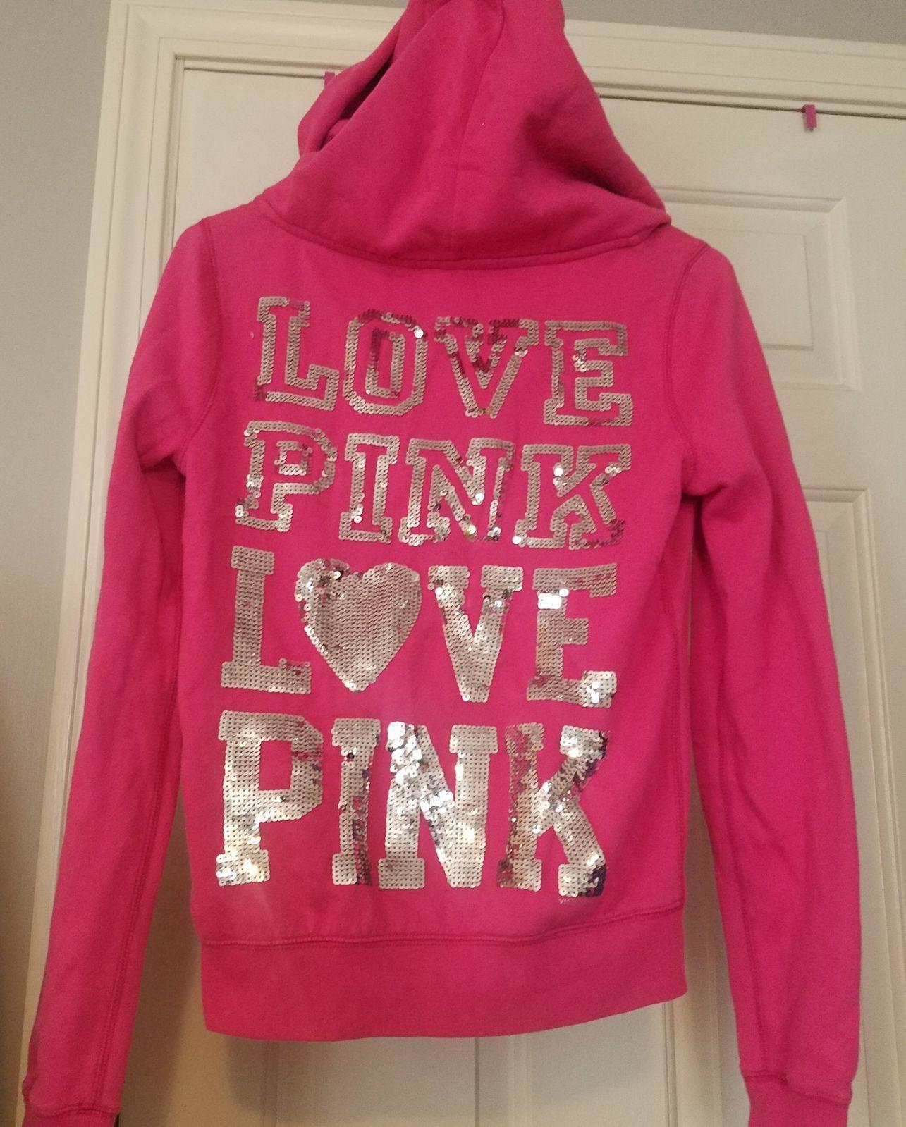 Vs Pink bling hoodie sweater full zip - Mercari: BUY & SELL THINGS ...