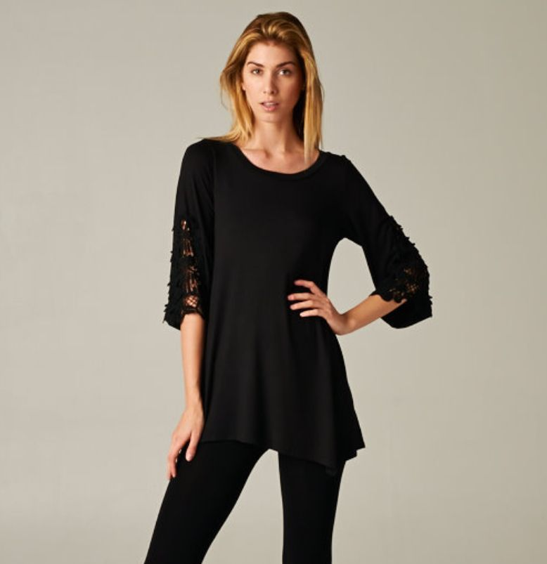 Black Shirt with Lace Detail Sleeves