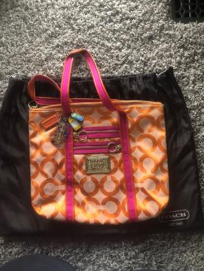 Coach Orange And Pink Poppy Tote Rare