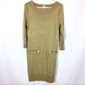 0733e96ac9 Michael Kors Gold Metallic Sweater Dress
