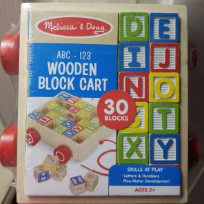 Used, ABC and Number Wooden Block Cart for sale