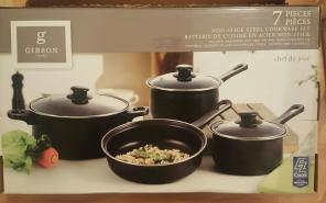 Used, 7 pc stainless steel cookware set for sale