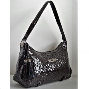 Elliot Lucca Patent Leather Woven Bag