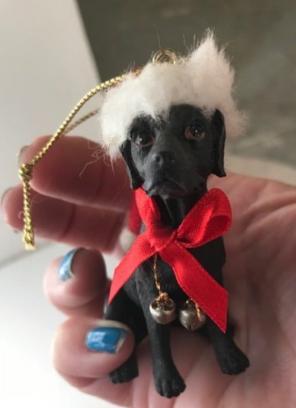 Black Labrador Christmas Ornament VTG, used for sale