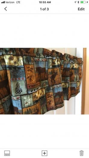 Cabin Lodge Plaid Curtain Valance, used for sale