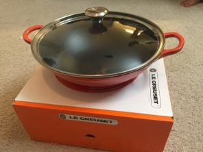 LE CREUSET WOK with Glass Lid 5 1/4 Qts, used for sale