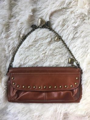 Kathy Van Zeeland Cognac Charm Chain Bag
