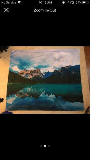 Mountain tapestry with lake for sale