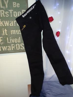 Ironworkers protective motorcycle jeans, used for sale