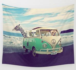 Hippie Van On The Beach Tapestry for sale
