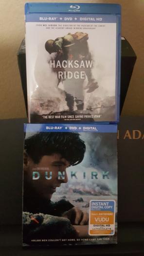 Used, Dunkirk & Hacksaw Ridge Blu Ray for sale