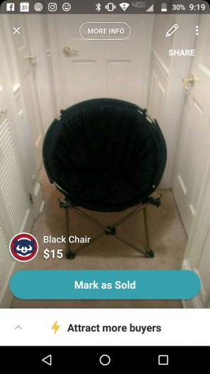 Black chair, used for sale