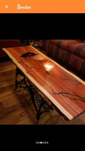 Custom made cedar wood coffee table, used for sale