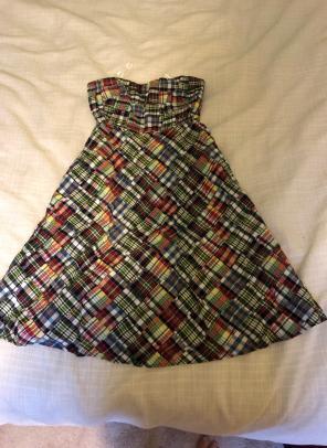Strapless Madras Print Dress J. Crew for sale