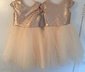 LanTing Girl Wedding Dress Gold lace for sale