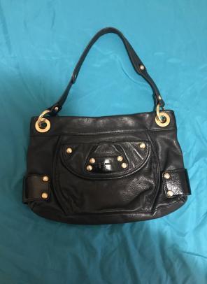 Black Gold Leather B Makowsky Purse Bag