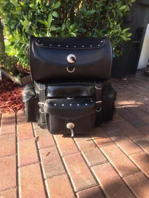 Used, Black Motorcycle Sissy bar Bags for sale