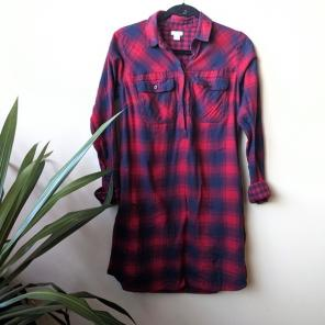 J Crew Factory Plaid Flannel Shirt Dress for sale