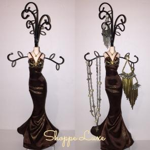 COCO LAMÈ TRUMPET GOWN JEWELRY STAND, used for sale