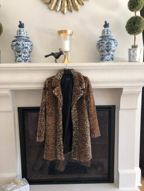 Leopard Fur Coat (Faux Fur) for sale