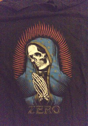 Zero skateboard Tee virgin Mary skull, used for sale