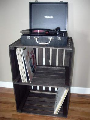 Used, Vintage Stained Turntable Stand for sale